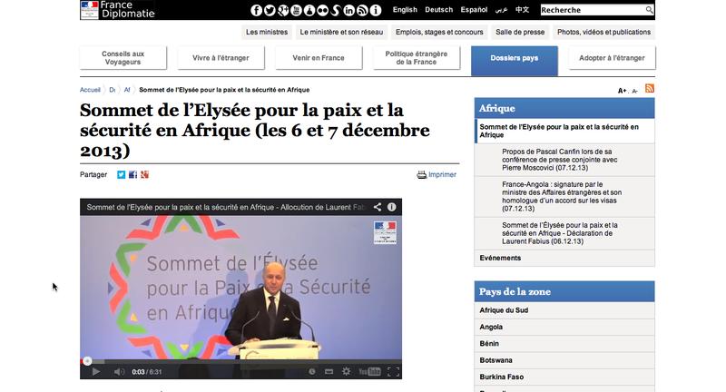 Le sommet de l'Elysée pour la paix en Afrique