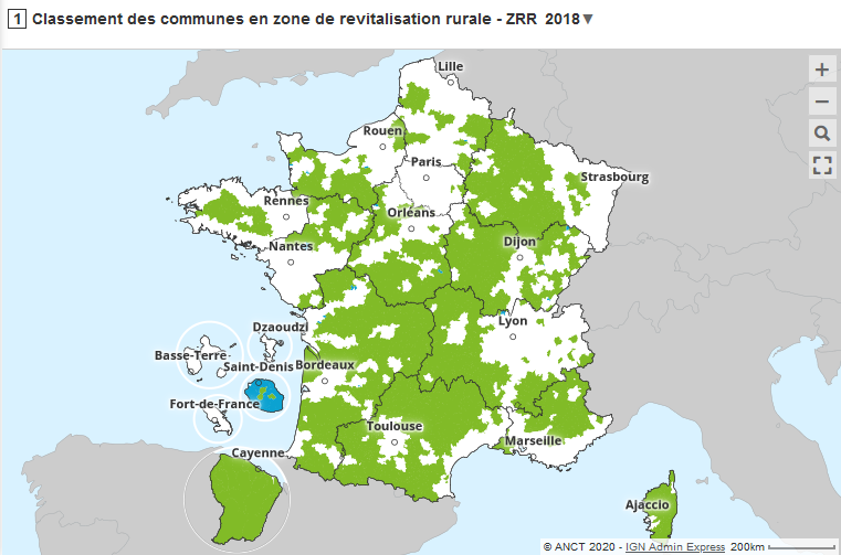 Carte interactive des zones de revitalisation rurale (ZRR)