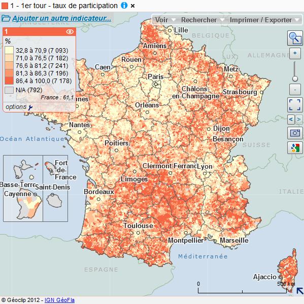 Carte interactive des résultats des élections municipales de 2008