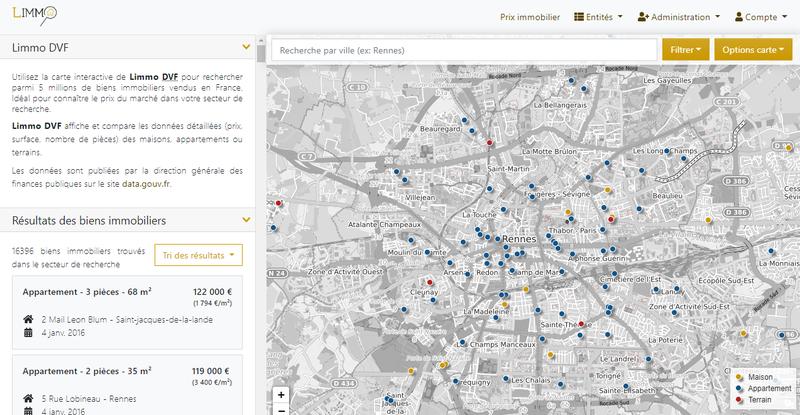 Limmo DVF - prix immobilier et carte d'exploration des biens vendus en France