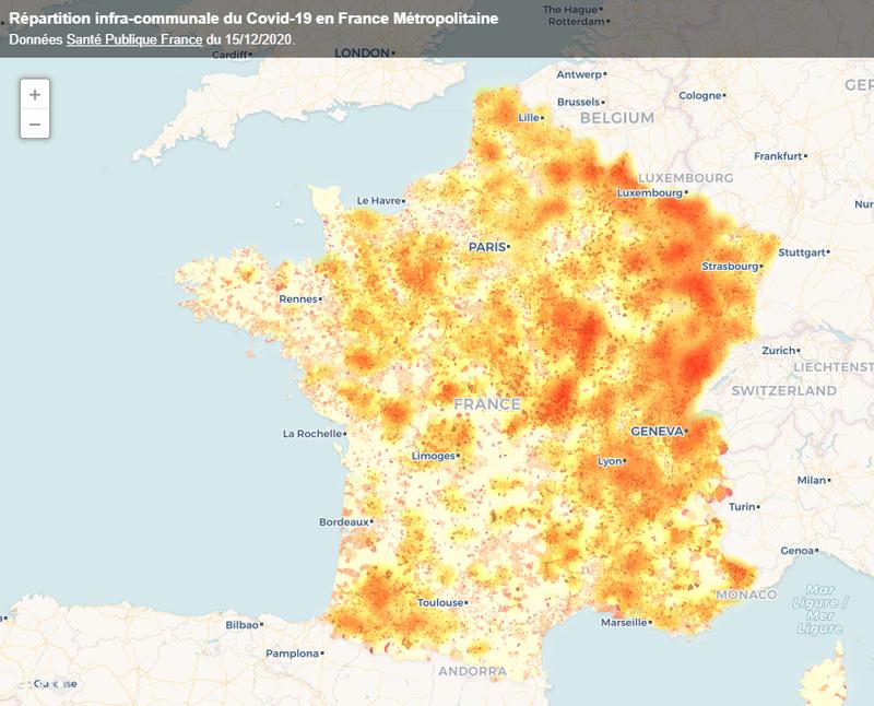 Intensité de répartition du COVID-19 en France Métropolitaine